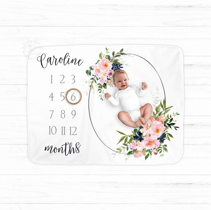 Personalized Milestone Blanket/Navy Pink Rose Baby Blanket/Personalized Monthly Photos/Baby Shower Gift/Greenery Floral Girl Boho Chic – Baby Mae Boutique