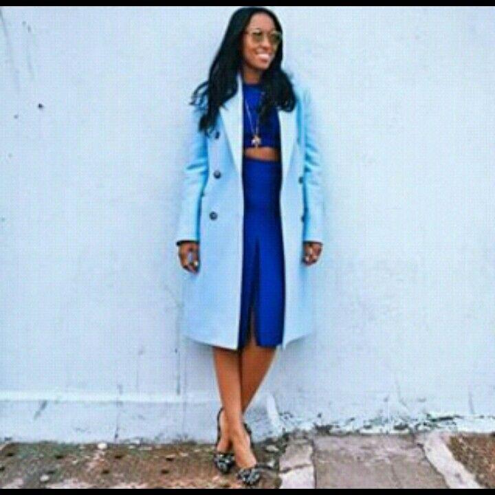 Proenza top meets Celine skirt    #bluecrush #intotheblue