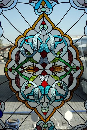 Stained glass window in a Turkish rest stop