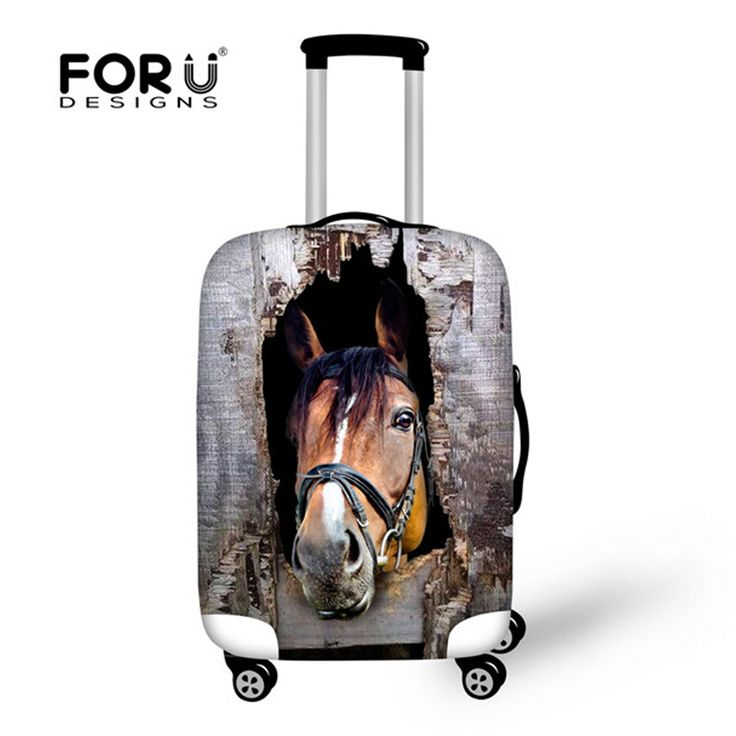 FORUDESIGNS Men Travel Luggage Protective Cover Crazy Horse Prints Spandex Waterproof Rain Cover for 18-30inch Suitcase Case