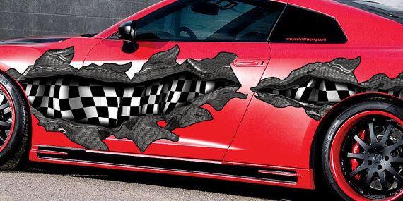 Checkered Flag Full Color Car Vinyl Design Racing Car Decal Etsy Car Vinyl Designs Checkered Flag