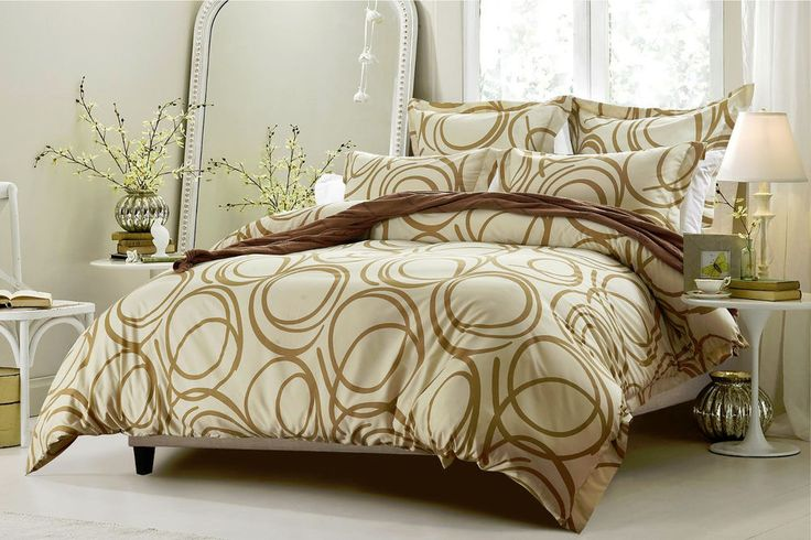 6pc Circle Design Beige Bedding Set - Includes Comforter and Duvet Cover  #CherryHillCollection #Modern