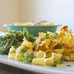 Best Tuna Casserole - Allrecipes.com Added sautéed onion and cream cheese. Used macaroni noodles.