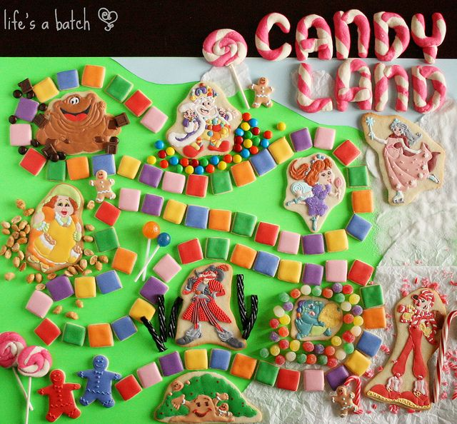 An entire Candy Land game scene made of decorated cookies!