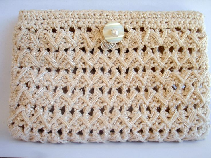 crochet twine pouch bag