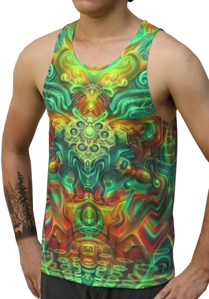 "UV Sublime Singlet : Holographic Altar Fully printed singlet. that will really grab people's attention. The design is printed using sublimation printing on a high quality UV Yellow polyester / Dri-Fit blended shirt. This allows for extremely vibrant colors that will never fade away no matter how many times it gets washed, & results in an extremely soft ""feel"" to the shirt for ultimate comfort. UV active - Glows under black light  Artwork by Fabian Jimenez"