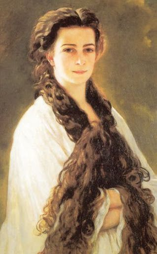 Sisi as a young woman with her hair down, unique for her time. This portrait stood in Franz Joseph study room. Painted by Franz Xaver Winterhalter.  Elisabeth of Austria (due to the movie also known now as Sissi, 1837-1898)