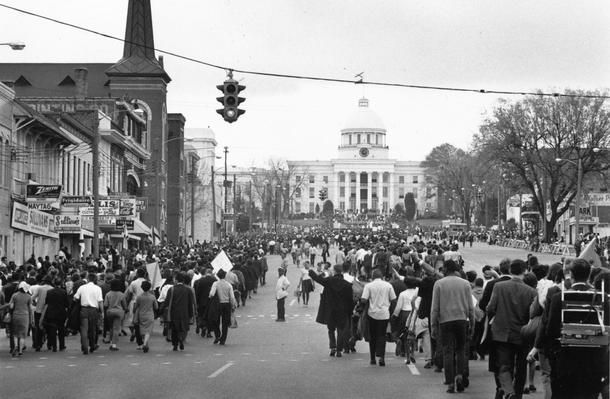 March 1965: American civil rights demonstrators, led by Dr Martin Luther King, approach the Capitol Building in Montgomery, Ala. at the end of their march for black voting rights from Selma, Ala.