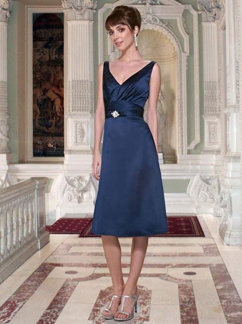 A-Line V-neck Short Satin Bridesmaid Dress