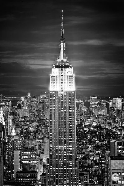 New York City At Night Black And White Empire State
