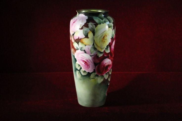 Philip Rosenthal Bavarian Vase Floral Signed M Ralins Rare