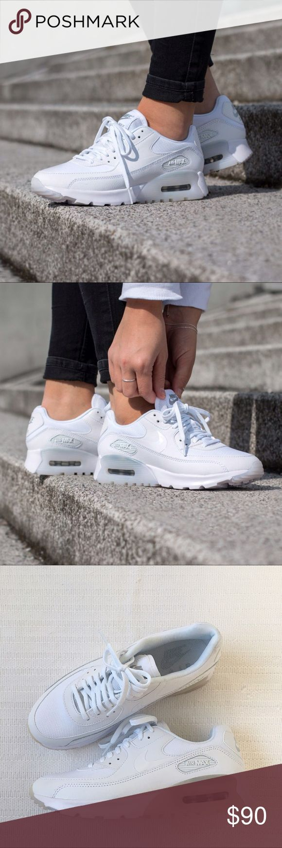 Women's Nike Air Max 90 Ultra Essential Sneakers Women's Nike Air Max 90 Ultra Essential Sneakers offers striking color combination and reliable, lightweight cushioning. Style/Color: 724981-101  • Women's size 6.5  • NEW in box (no lid) • No trades •100% authentic Nike Shoes Sneakers