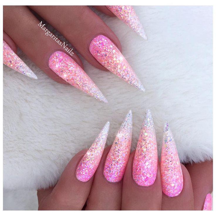 Pink glitter Ombré Stiletto nails Pastel color nail art design #nails #stilettonails#nailart#pink#MargaritasNailz#glitternails#vetrogel#nailfashion#naildesign#nailswag#hairandnailfashion#nailedit#nailcandy#nailprodigy#ombrenails#nailsofinstagram#chromenails#pinknails#nailaddict#nailstagram#instagramnails#nailsoftheday#nailporn#nailpro#naildesigns#ombre#fashionnails#pinkombre#nailsonfleek#nailideas