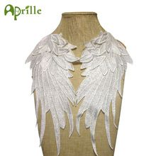 1 pair 3d white wing embroidered patches for clothes sew on clothing stripes diy applique lace fabric sticker embroidery badges(China)