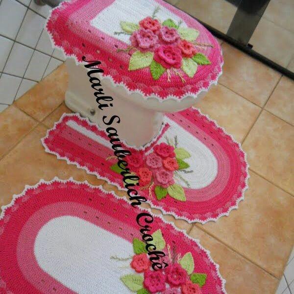 jogo de banheiro: Juego De Baño A Crochet, Bathroom Crochet, Set, Crochet Hogar, Bath, Crochet Rugs, Bathroom, Bathroom Sets, Crochet Bathroom