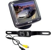 Pyle PLCM36 3.5-Inch Slim TFT LCD Universal Mount Monitor with License Plate Mount Rear-view Night Vision Backup Camera