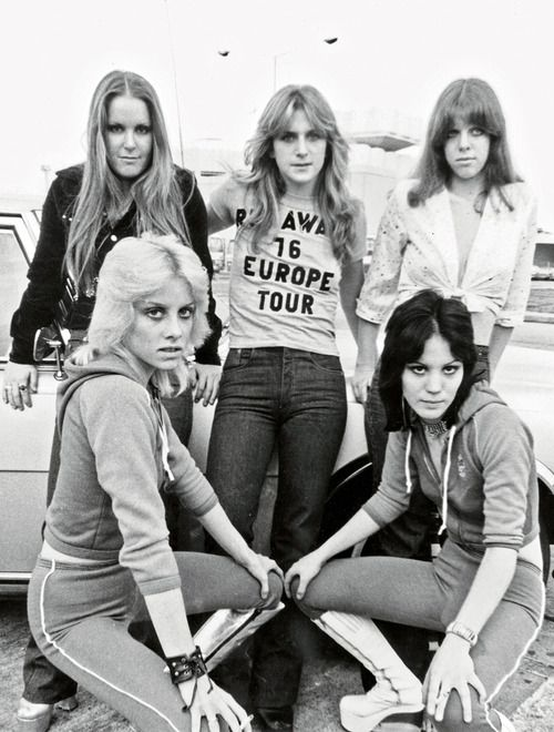 The Runaways photographed by Adrian Boot, 1976.