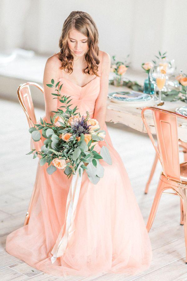 17 Best ideas about Peach Wedding Dresses on Pinterest | Illusion ...