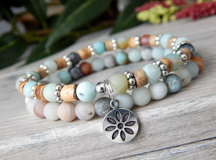 About the Bracelet This mellow nature bracelet is made with calming amazonite and coco wood, giving a feeling of peaceful energy. Bracelet Details: This beautiful bracelet is made with: ♥ 6mm Matte Fl