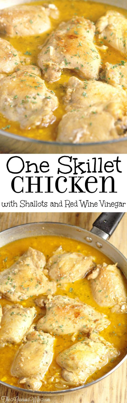Skillet Chicken Thighs with Shallots in Red Wine Vinegar Sauce is a quick and easy dinner recipe idea that can be made in one pan in 30 minutes but is delicious and elegant enough for company and entertaining. I love the creamy sauce!