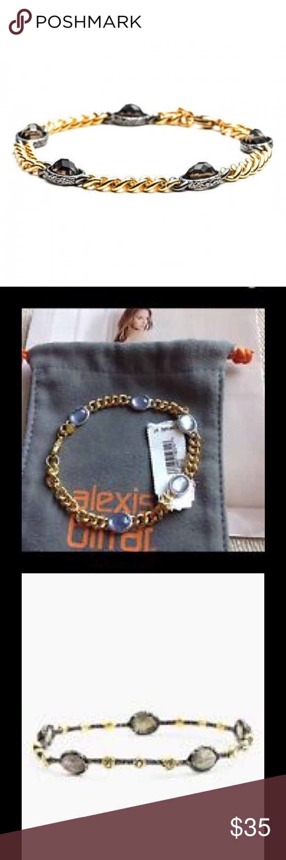 ALEXIS BITTAR JARDIN de PAPILLON BRACELET. Chain bracelet in gold with grey crystal stones.  Has been worn. In very good condition.  Alexis BITTAR Authenticity tag by claw fastener.  Pic # 4 No longer have sales tag. Alexis Bittar Jewelry Bracelets