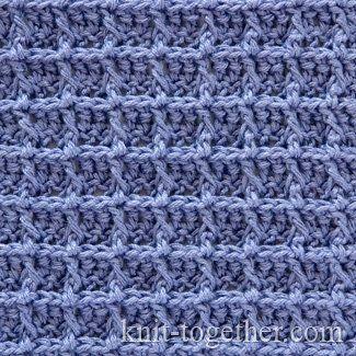Crochet Waffle Stitch Pattern - photo, description and crochet chart. Relief…