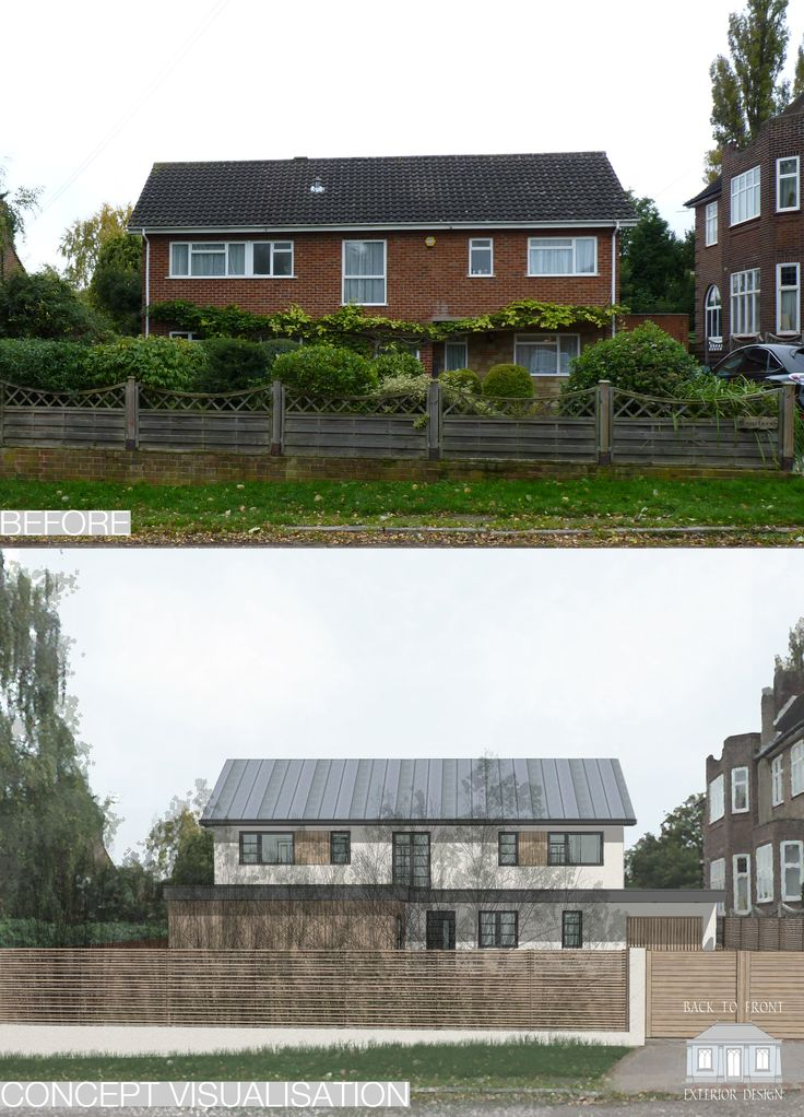 Modern exterior design solution to this 1960's box bringing new life to this home. By Back to Front Exterior Design