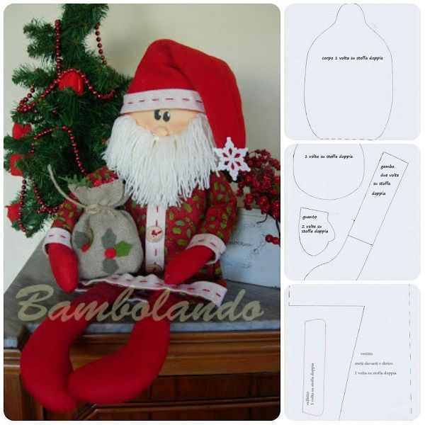 Cartamodello e Tutorial: Babbo Natale in stoffa #handmade #freepattern #christmas