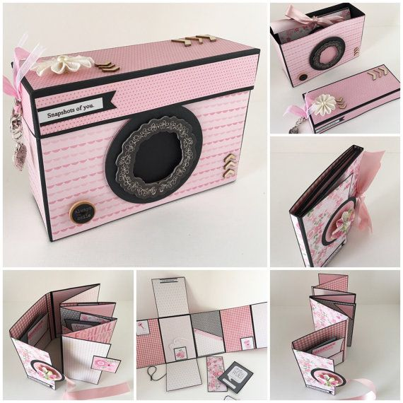Baby Girl Scrapbook Photo Album Pink and Black by CallMeCraftie