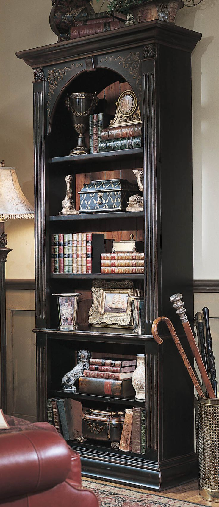 "Hooker Furniture Brown Seven Seas 85"" H Black Bookcase 