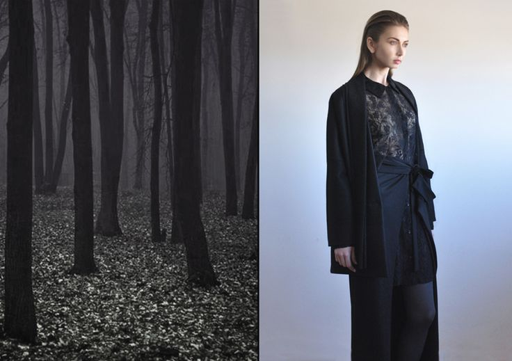 Aroma30 -  Oversize wool jacket with layers on the collar / Silk and wool lace shirt / Jersey long skirt