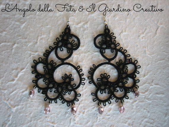 Earrings Arabesque tatted by black cotton by IlGiardinoCreativo
