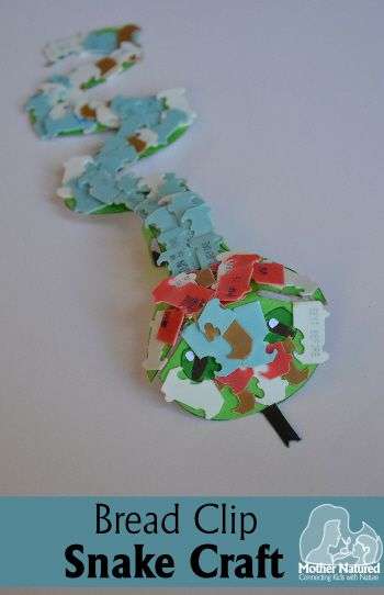 Snake craft using Plastic Bread Clips | Mother Natured