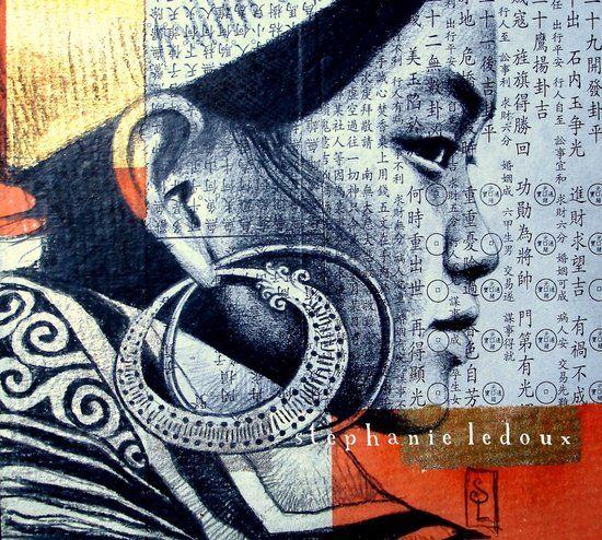 H'mong noire - Vietnam  Sanguine noire sur collage.