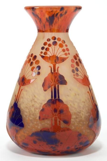 A SCHNEIDER LE VERRE FRANCAIS GLASS OMBELLES VASE . Charles Schneider Glassworks, Épinay-sur-Seine, France 1924-1927