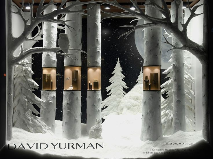 Winter white takes on a new meaning at David Yurman's SoHo store: This holiday season, the jeweler has enlisted the help of paper artist Calvin Nicholls to create a pristine forest tableau, populated with sculptures of bears, rabbits, and snowy owls, while Julie Wilkinson from NYC's Makerie Studio crafted the snowy scenery. The theme, Yurman told JCK, a site that keeps tabs on the jewelry industry, was inspired by the first date he and his now-wife shared: The two drove from New York ...