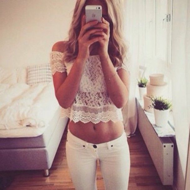 top lace summer summer outfits outfit white jeans white pants classic classy fancy classic style tank top lace top style white pants high waisted white high waisted jeans shoulderless top pants leggings jeggings