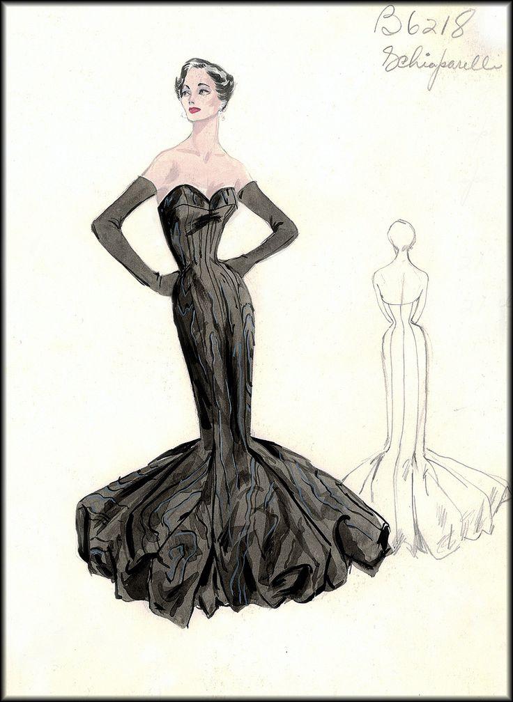 'Mermaid style' Schiaparelli high fashion sketch for Bergdorf Goodman, ca. late 1950s