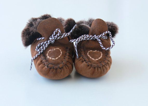 "Baby booties ""First Steps"" crochet shoe slippers made with sheep skin leather and soft fur"