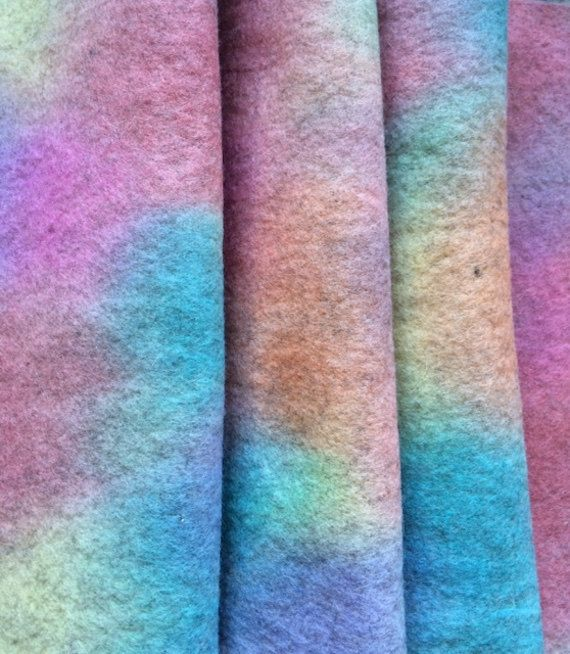 Hand-dyed PURE WOOL FELT  Extra Long Piece  by HeartFeltDolls