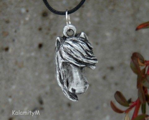 Klepna-přívěšek bezolovnatý cín náhrdelník dárek kůň cín přívěšek koňská hlava