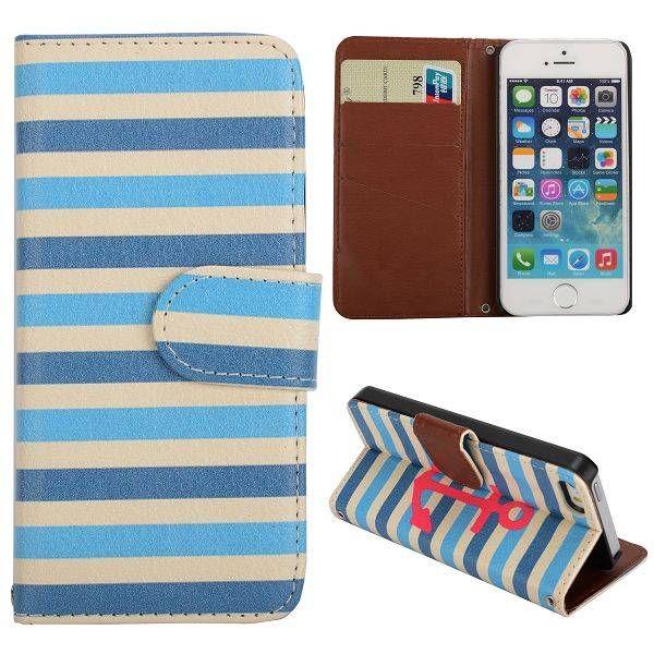 Blauwe strepen & Anker bookcase hoesje voor iPhone 5C