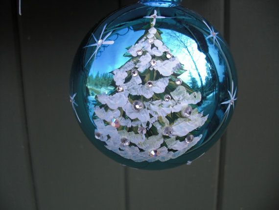Hand painted glass christmas ornament with by ArtisanColorado, $25.00