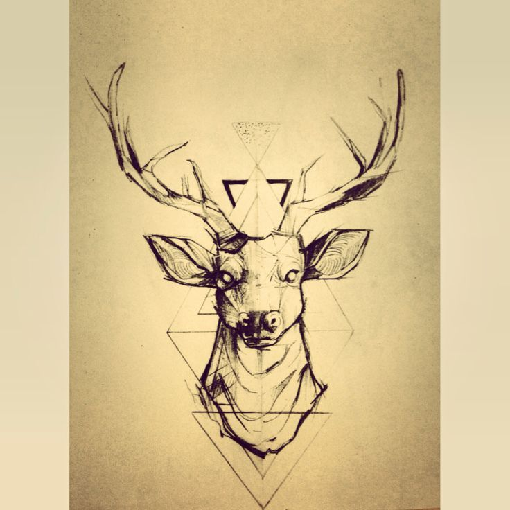 geometrical deer drawing/tattoo