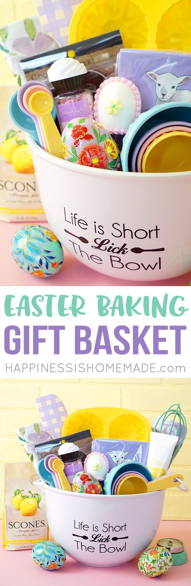 Easter Baking Gift Basket: Surprise your hostess with this fun gift basket featuring cute pastel baking goods and spring treats from Cost Plus World Market!