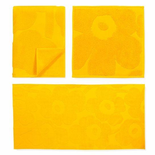 Marimekko Unikko Yellow Bath Towels    Shop online @ boltofcloth.com    #Unikko #yellow #bathroom #style