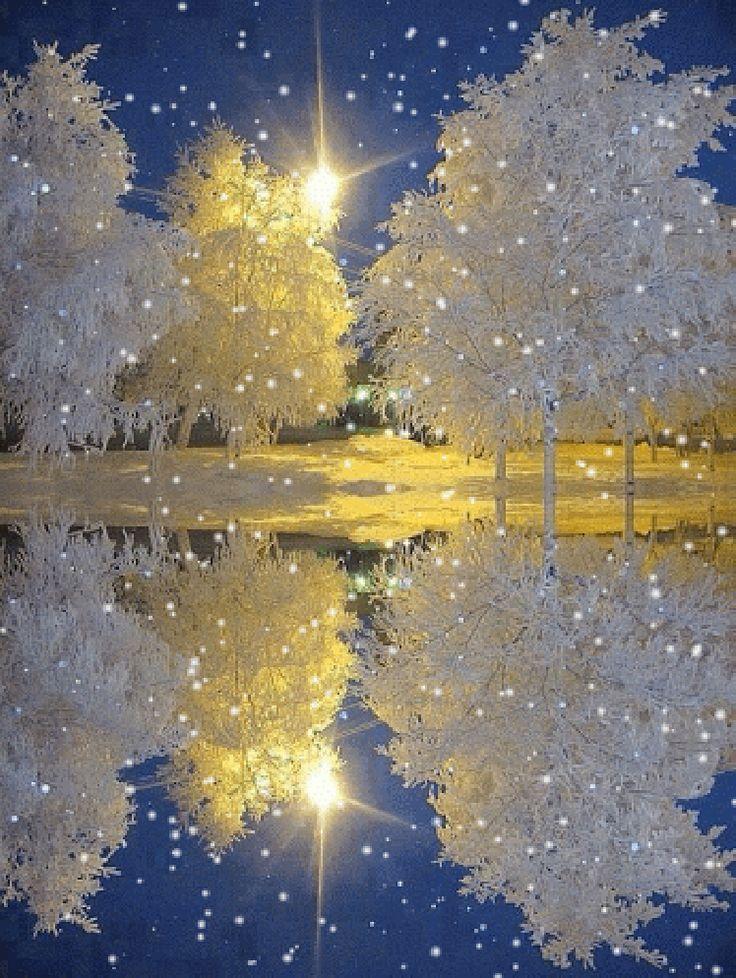 Живые картинки зима на телефон снег падает то