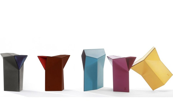 Folding Leather Stools designed by Atelier Oi for Louis Vuitton's Objets Nomades collection. Inspired by origami... Photo courtesy of Louis Vuitton.