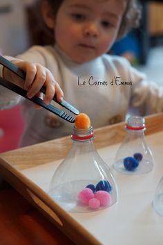 activité, apprentissage, motricité fine, montessori, 1-2 ans idée activité motricité fine, type montessori trie couleur