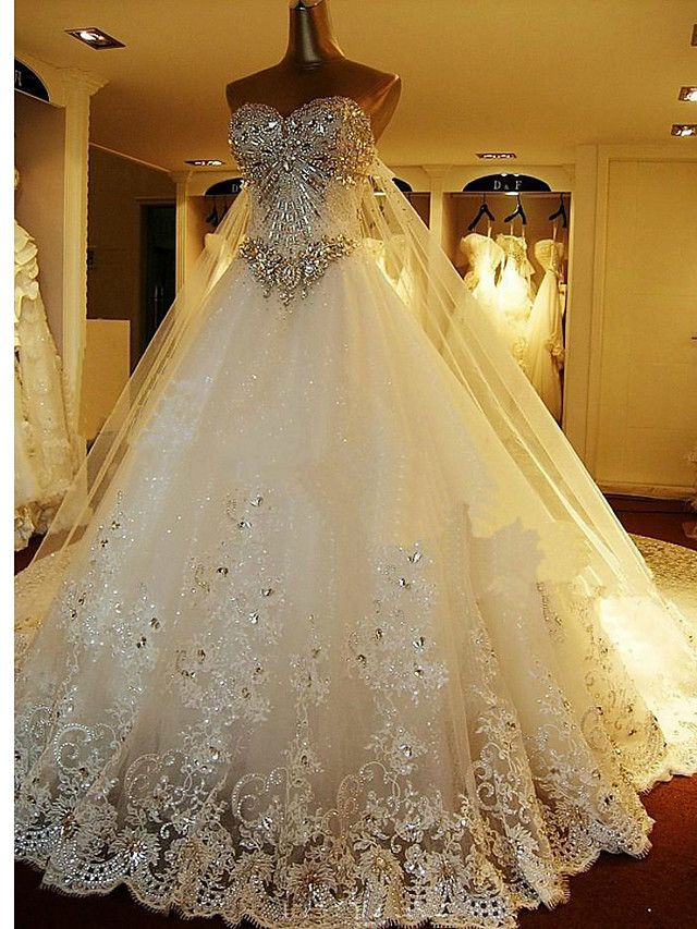 A-line Petite Wedding Dress - Elegant & Luxurious Sparkle & Shine / Two-In-One Wedding Dresses Cathedral Train Sweetheart Tulle  - USD $299.99